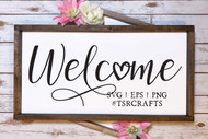 Welcome with heart svg cut file and png clip art set - digital design - instant download graphic