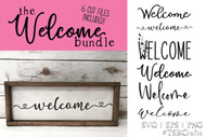 Welcome Sign Digital Design Bundle - welcome cut file sign bundle - diy horizontal welcome sign bundle - welcome
