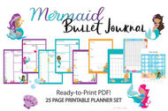 Mermaid planner / Journal Printables- Printable Planner Inserts in ready to go pdf