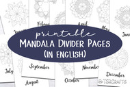 Month Divider Pages - Printable Monthly Divider Inserts with Mandalas - in ENGLISH