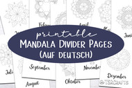 Month Divider Pages - Printable Monthly Divider Inserts with Mandalas - in German (auf deutsch)