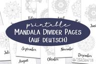 Month Divider Pages - Printable Monthly Divider Inserts with Mandalas - in German (auf deutsch)