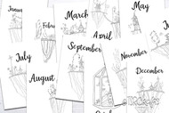 Month Divider Pages - Fairy Doodles Coloring Page style planner dividers