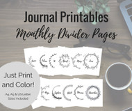 Printable Journal Divider Pages - Monthly Title Journal Dividers for A4, A5 & US Letter size planners (planner dividers)