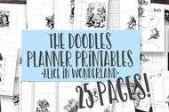 Printable Planner Inserts - The Doodle Journal Series - Vintage Alice in Wonderland
