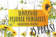 Printable Sunflower Watercolor Planner Inserts & Digital Planner Set