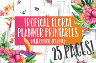 Printable Tropical Floral Watercolor Planner Inserts & Digital Planner Set