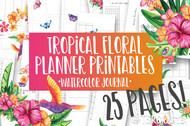 Printable Tropical Floral Watercolor Planner Inserts & Digital Planner Set