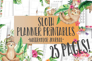 Printable Sloth Watercolor Planner Inserts & Digital Planner Set