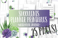 Printable Succulents Watercolor Planner Inserts & Digital Planner Set