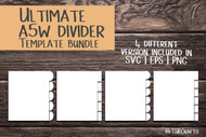 "A5W Divider Template Bundle - Print & Cut set of 7"" x 8.6"" divider tabs - blank divider template for A5WIDE dividers in svg, eps, png, pds"