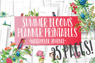 Printable Summer Blooms Watercolor Planner Inserts & Digital Planner Set