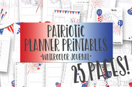 Printable Patriotic Watercolor Planner Inserts & Digital Planner Set