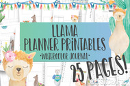 Printable Llama Watercolor Planner Inserts & Digital Planner Set