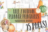 Printable Fall / Autumn Watercolor Planner Inserts & Digital Planner Set