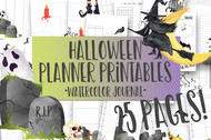 Printable Halloween Watercolor Planner Inserts & Digital Planner Set