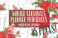 Printable Winter Cardinals Watercolor Planner Inserts & Digital Planner Set