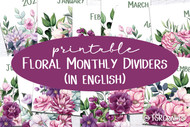 Pink Floral Monthly Divider Pages - Printable Monthly Divider Inserts with floral watercolor designs - in ENGLISH