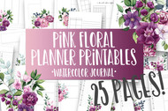 Printable Pink Floral Watercolor Planner Inserts & Digital Planner Set