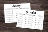 Printable 2021 Calendar - Horizontal Calendar - 1 page monthly calendar printables for 2021 (from Oct 2020-Jan 2022)