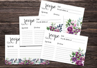 Printable Pink and Maroon Floral Recipe Card bundle (multiple sizes)