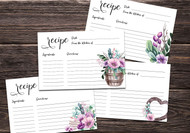 Printable Rustic Floral Recipe Card bundle (multiple sizes)