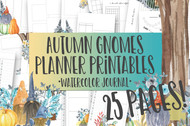 Autumn Gnomes Watercolor Planner Inserts & Digital Planner Set