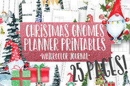 Winter / Christmas Gnomes Watercolor Planner Inserts & Digital Planner Set