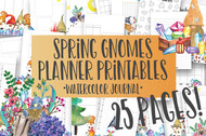 Spring Gnomes Watercolor Planner Inserts & Digital Planner Set