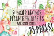 Summer Gnomes Watercolor Planner Inserts & Digital Planner Set