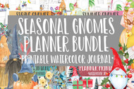 Seasonal Gnomes Watercolor Planner Bundle - 100 page spring, summer, fall, winter planner set