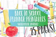 Back to School Watercolor Planner Inserts & Digital Planner Set