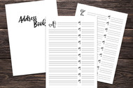 Printable Address Book Inserts - Easy to use Printable Planner bundle (27 page bundle - Cover page plus 26 monogrammed pages