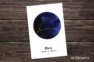 Printable Wall art - Pisces Zodiac sign - Pisces Astrology Art Printable Home Decor