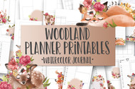 Woodland Floral Watercolor Planner Inserts & Digital Planner Set