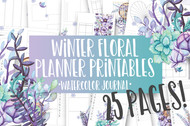 Winter Floral Watercolor Planner Inserts & Digital Planner Set