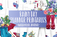 Rainy Day Floral Watercolor Planner Inserts & Digital Planner Set