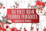 Tea Party Theme  Watercolor Planner Inserts & Digital Planner Set