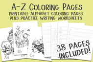 A-Z Alphabet Coloring Pages Plus Practice Writing Worksheets