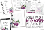 The Bonus Pages #1 Watercolor Planner Inserts & Digital Planner Set