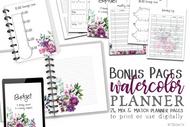 The Bonus Pages #1 Watercolor Planner Inserts & Digital Planner Set