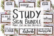 The Study Sign Bundle -  Svg cut file and png clip art set - digital design - instant download graphic