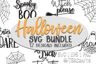 Halloween SVG Bundle for DIY handmade halloween decor, tee shirts, mugs, totes and more! 12 designs included - word art and spider webs svgs