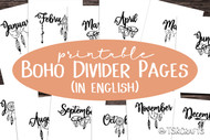 Month Divider Pages - Printable Monthly Divider Inserts with whimsical boho design - in English