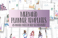 Mermaid  Watercolor Planner Inserts & Digital Planner Set
