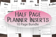 Undated half page planner inserts - PDF Instant Download - 10 tall and skinny planner templates