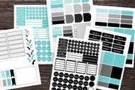 Planner Sticker Kit:  275+, Mix-and -Match Bullet Journal Sticker Set template in teal and black