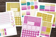 Planner Sticker Kit:  275+, Mix-and -Match Bullet Journal Sticker Set template in Rainbow Sherbet