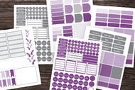 This listing is for my 275+, Mix-and -Match Bullet Journal Sticker Set template in Ombre Purple and grey