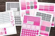 Planner Stickers:  275+ Mix-and -Match Bullet Journal Sticker Set template in Ombre pink and grey